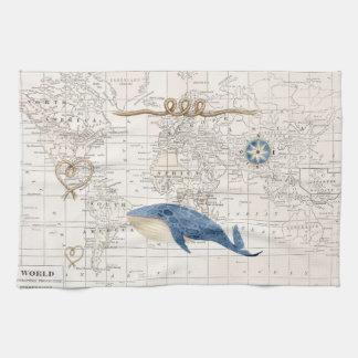 Ballena y toalla de té náuticas del mapa del mundo