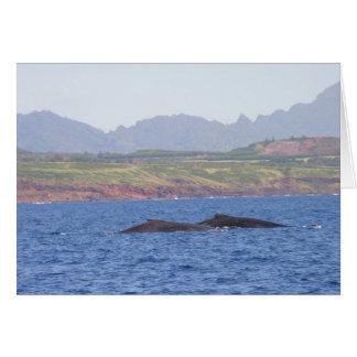 Ballenas jorobadas hawaianas tarjeta de felicitación