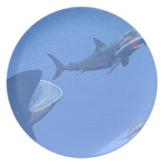 Ballenas y megalodon subacuáticos - 3D rinden Plato