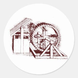ballesta-rueda de ardilla pegatina redonda