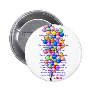 balloon15, Birthday*^*Today *^*Happy que usted ris Chapa Redonda De 5 Cm