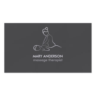 Balneario blanco de plata gris de la masajista de tarjetas de visita