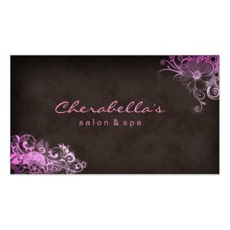 Balneario elegante elegante Brown rosado floral de Tarjeta Personal