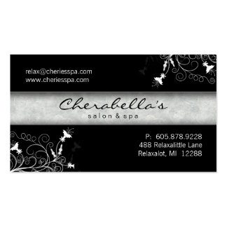 Balneario - tarjeta de visita negra del salón y bl