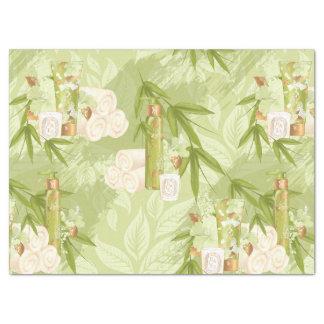 Balneario verde oliva de bambú del oro verde papel de seda