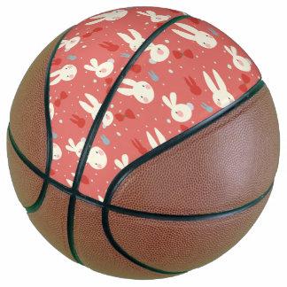Balón De Baloncesto Conejitos de pascua lindos en modelo rojo del