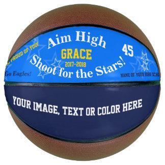 Balón De Baloncesto El equipo conocido personalizado azul protagoniza