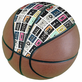 Balón De Baloncesto La mezcla retra del casete del vintage graba el