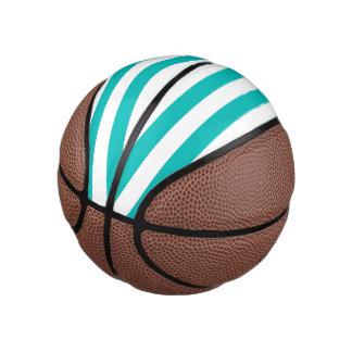 Balón De Baloncesto Rayas horizontales de la aguamarina