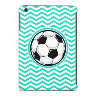 Balón de fútbol; Aguamarina Chevron verde Fundas De iPad Mini
