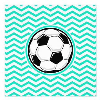 Balón de fútbol Aguamarina Chevron verde Invitaciones Personalizada