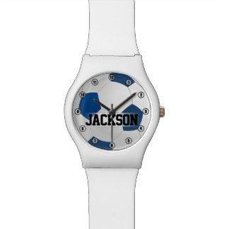 Balón de fútbol azul con los niños del nombre o relojes de pulsera