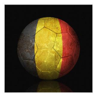 Balón de fútbol belga gastado de fútbol de bandera anuncio personalizado