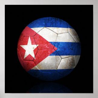 Balón de fútbol cubano gastado de fútbol de póster