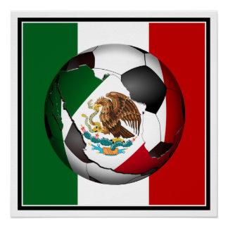 Balón de fútbol de bandera mexicana