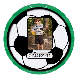 Balón de fútbol de la foto en fiesta de cumpleaños invitaciones personales