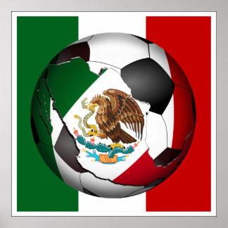 Balón de fútbol de México Póster