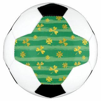 Balón De Fútbol El verde de oro del trébol de St Patrick raya el