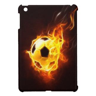 Balón de fútbol en caso del iPad de las llamas