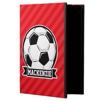 Balón de fútbol en rayas diagonales rojas