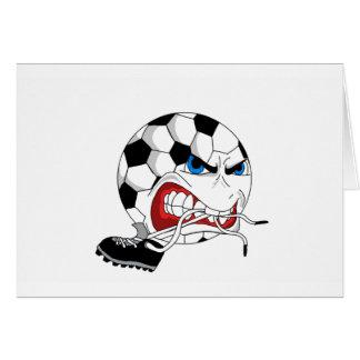 Balón de fútbol enojado tarjeta