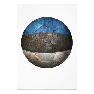 Balón de fútbol estonio gastado de fútbol de bande anuncios personalizados
