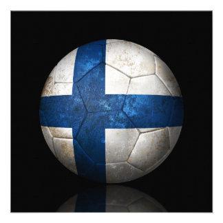 Balón de fútbol finlandés gastado de fútbol de ban invitaciones personalizada