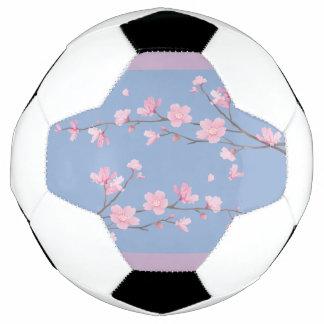 Balón De Fútbol Flor de cerezo - azul de la serenidad