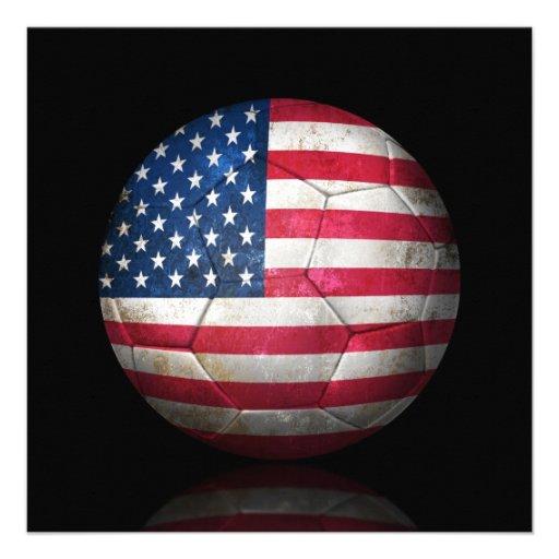 Balón de fútbol gastado de fútbol de bandera ameri invitacion personalizada