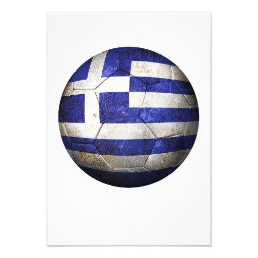 Balón de fútbol griego gastado de fútbol de bander invitaciones personales