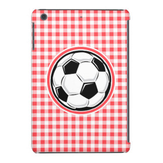 Balón de fútbol; Guinga roja y blanca Fundas De iPad Mini Retina