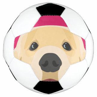 Balón De Fútbol Ilustracion Retriver de oro con el fondo rosado