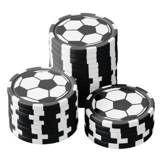 Balón de fútbol juego de fichas de póquer