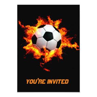 Balón de fútbol llameante invitación 12,7 x 17,8 cm