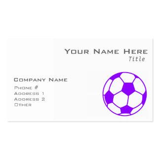 Balón de fútbol púrpura violeta tarjetas de visita