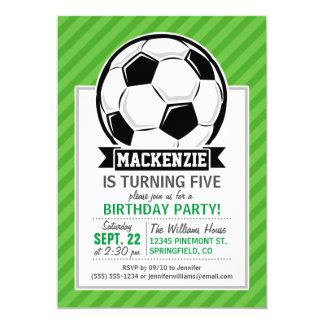 Balón de fútbol; Rayas verdes Invitación 12,7 X 17,8 Cm