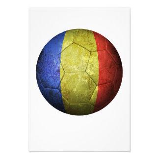 Balón de fútbol rumano gastado de fútbol de bander comunicados personales