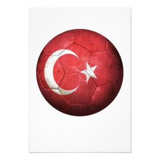 Balón de fútbol turco gastado de fútbol de bandera invitación personalizada