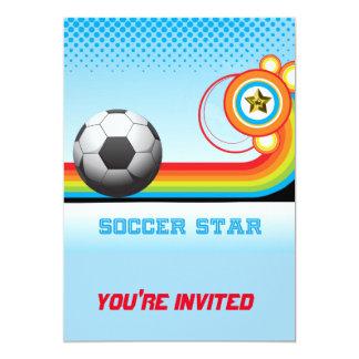Balón de fútbol y estrella de FÚTBOL de la raya Invitación 12,7 X 17,8 Cm