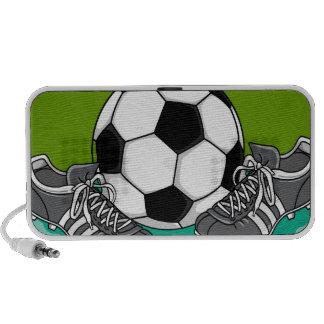 balón de fútbol y listones del fútbol gráficos altavoz de viaje