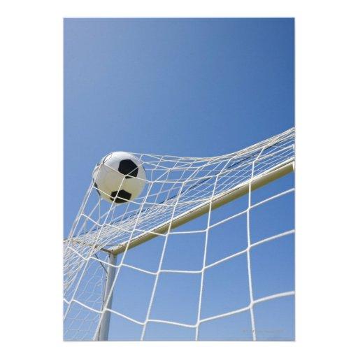 Balón de fútbol y meta 3 invitaciones personalizada