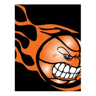 Baloncesto ardiente enojado postal