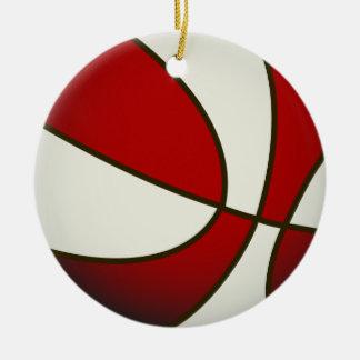 Baloncesto - blanco/rojo adorno navideño redondo de cerámica