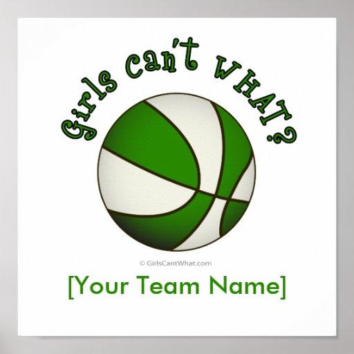 Baloncesto - blanco/verde poster