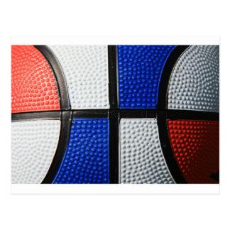 Baloncesto blanco y azul rojo postal