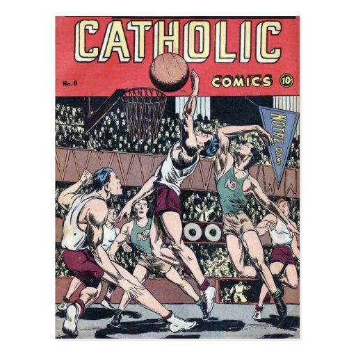 Baloncesto católico de los tebeos tarjetas postales