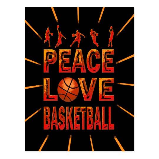 Baloncesto del amor de la paz postal