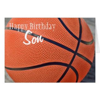 Baloncesto del hijo del feliz cumpleaños tarjeta de felicitación