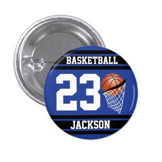 Baloncesto personalizado azul marino y negro chapa redonda 2,5 cm