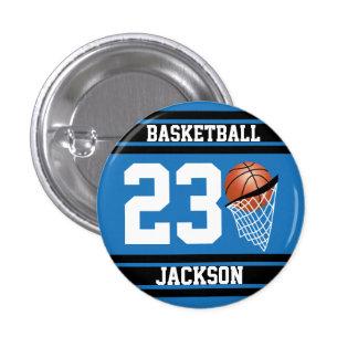 Baloncesto personalizado azul y negro chapa redonda 2,5 cm